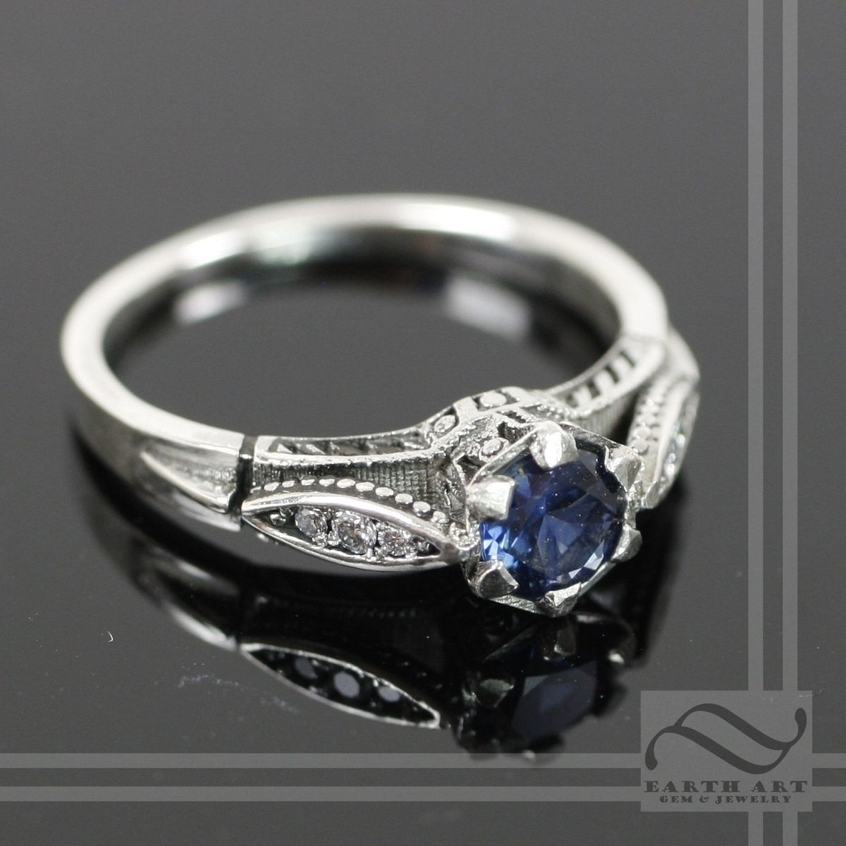 Buy A Hand Crafted Vintage Style Sapphire And Diamond Ring, Made To Within Most Popular Vintage Style Diamond And Sapphire Engagement Rings (Gallery 7 of 15)