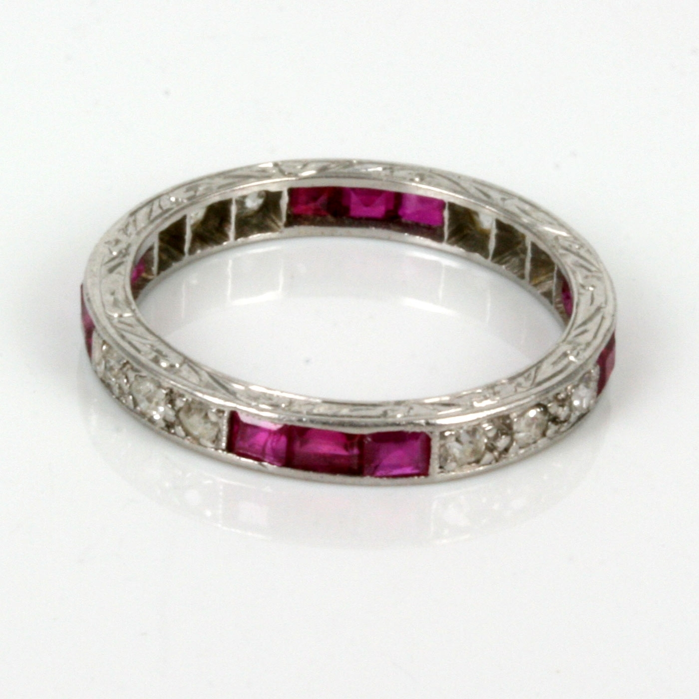 Buy Art Deco Ruby & Diamond Eternity Ring In Platinum (View 8 of 15)