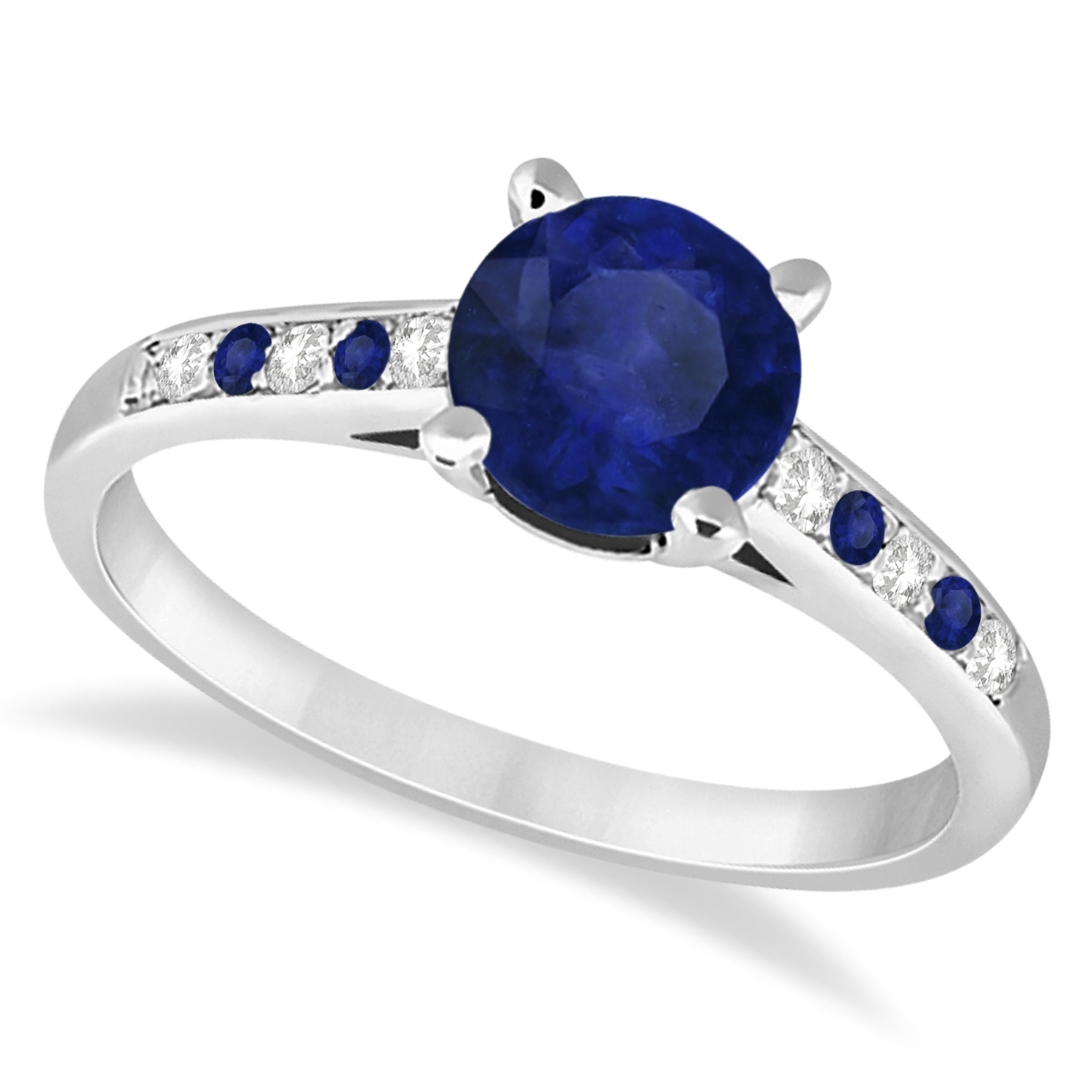 Cathedral Blue Sapphire & Diamond Engagement Ring 14k White Gold (View 11 of 15)