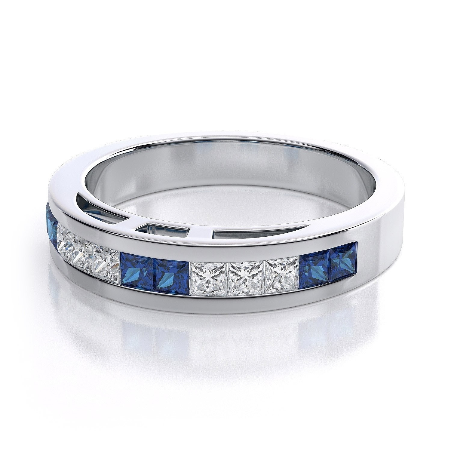 Channel Set Blue Sapphire And Diamond Princess Cut Gemstone Fashion Inside Best And Newest Princess Cut Blue Sapphire And Diamond Five Stone Rings In 14k White Gold (View 12 of 15)