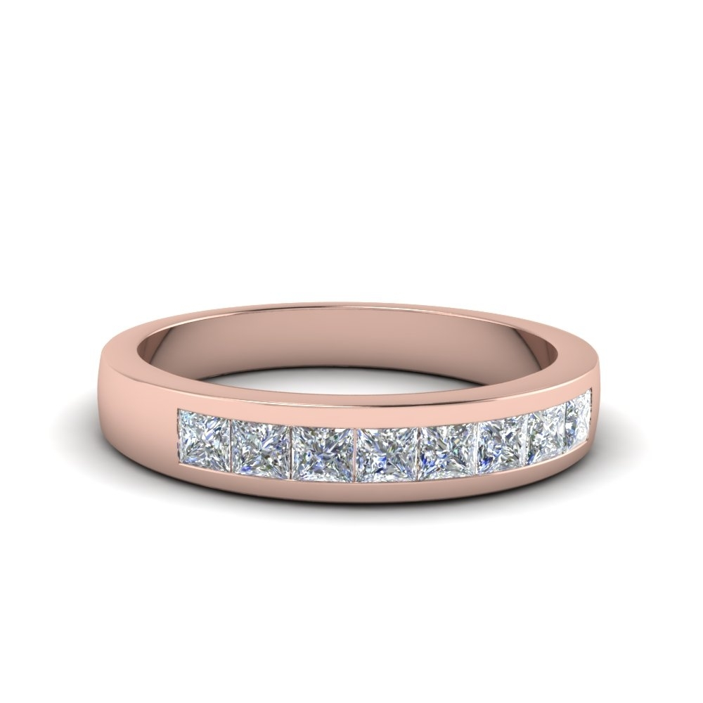Channel Set Diamond Wedding Anniversary Band In 18k Rose Gold Pertaining To Latest Diamond Channel Set Anniversary Bands (View 8 of 15)