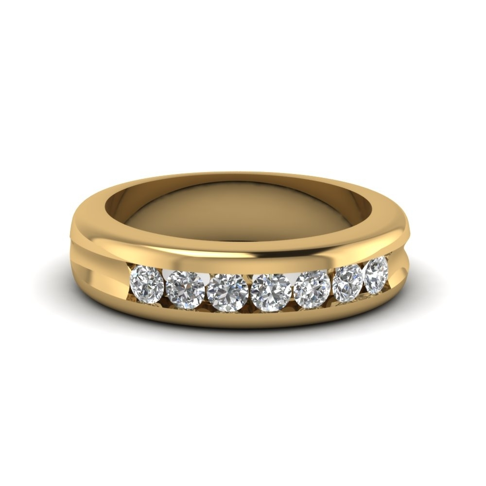 Channel Set Diamond Wedding Band In 14k Yellow Gold | Fascinating In Best And Newest Diamond Channel Set Anniversary Bands (View 3 of 15)