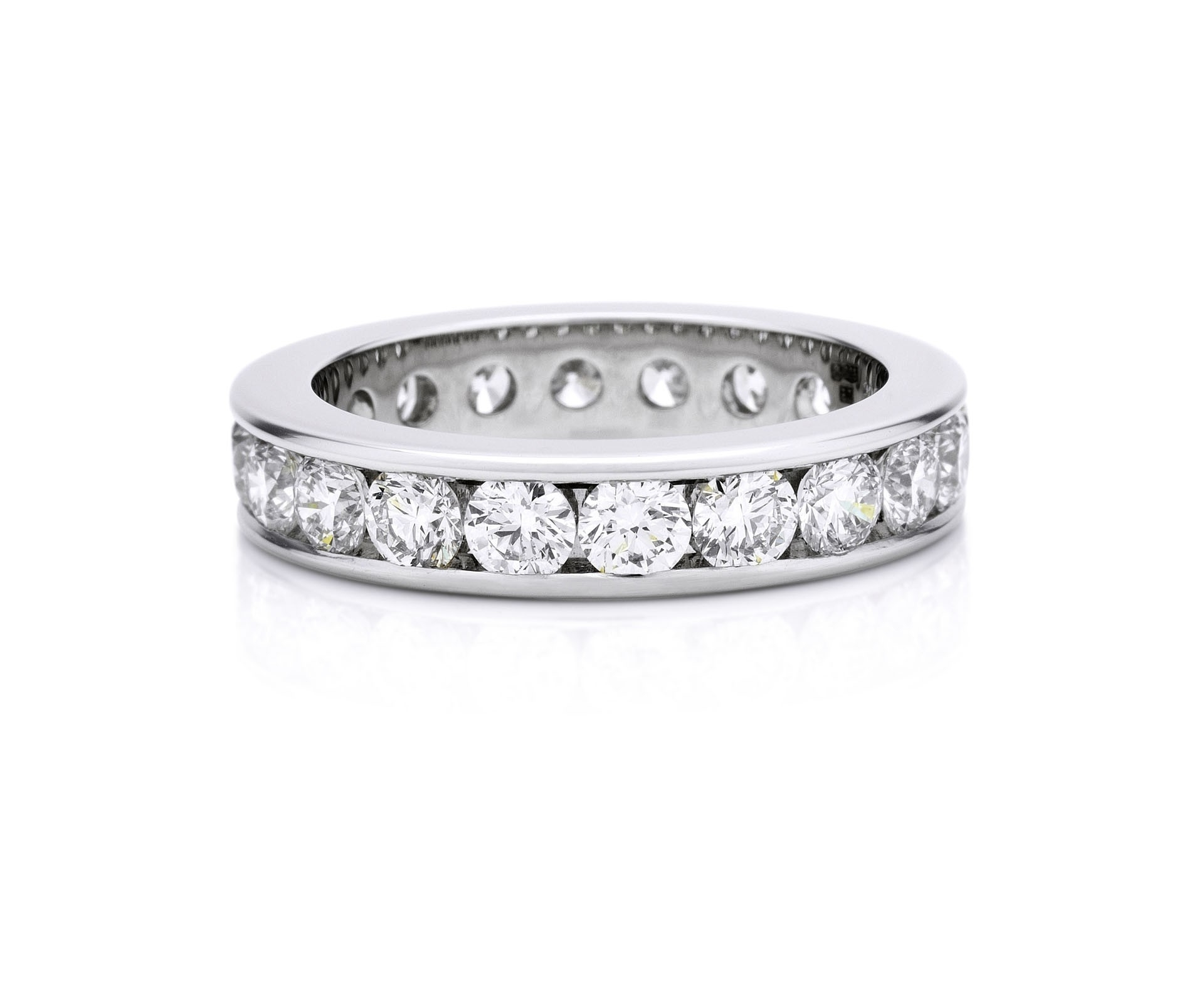 Channel Set Platinum 4mm Eternity Ring | De Beers Regarding 2017 Diamond Channel Set Anniversary Bands (View 12 of 15)