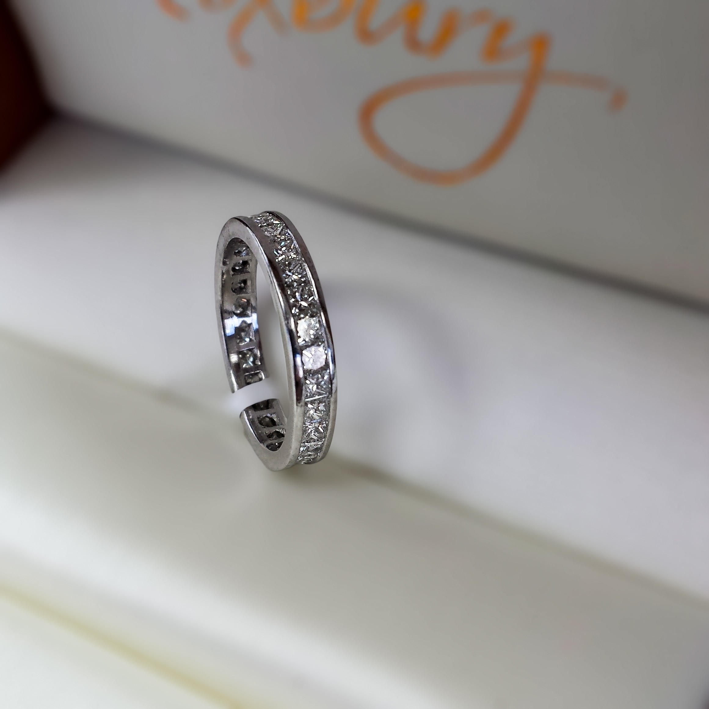 Channel Set Princess Diamond Eternity Band In Platinum For Best And Newest Diamond Channel Set Anniversary Bands (View 10 of 15)