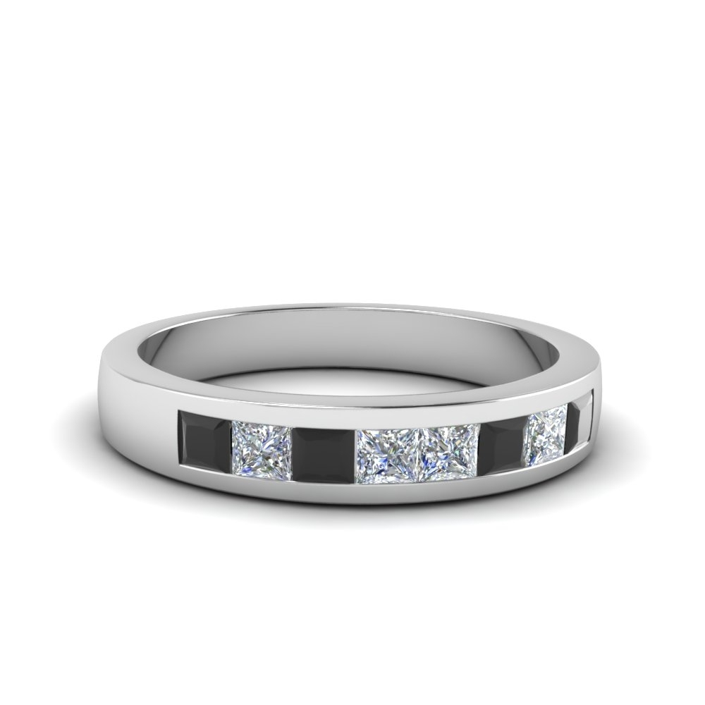 Channel Set Wedding Anniversary Band With Black Diamond In 14k White With Most Recent Diamond Channel Set Anniversary Bands (View 4 of 15)