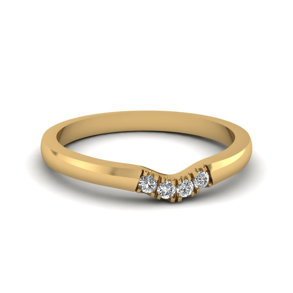 Classic 4 Diamond Curved Womens Wedding Band In 14K Yellow Gold With Regard To Most Recent Diamond Contour Wedding Bands In 14K White Gold (View 2 of 15)