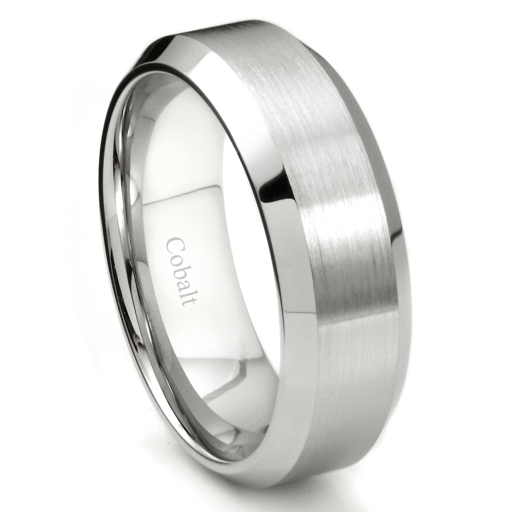 Featured Photo of Satin Center Bevel Edged Wedding Band In Cobalt