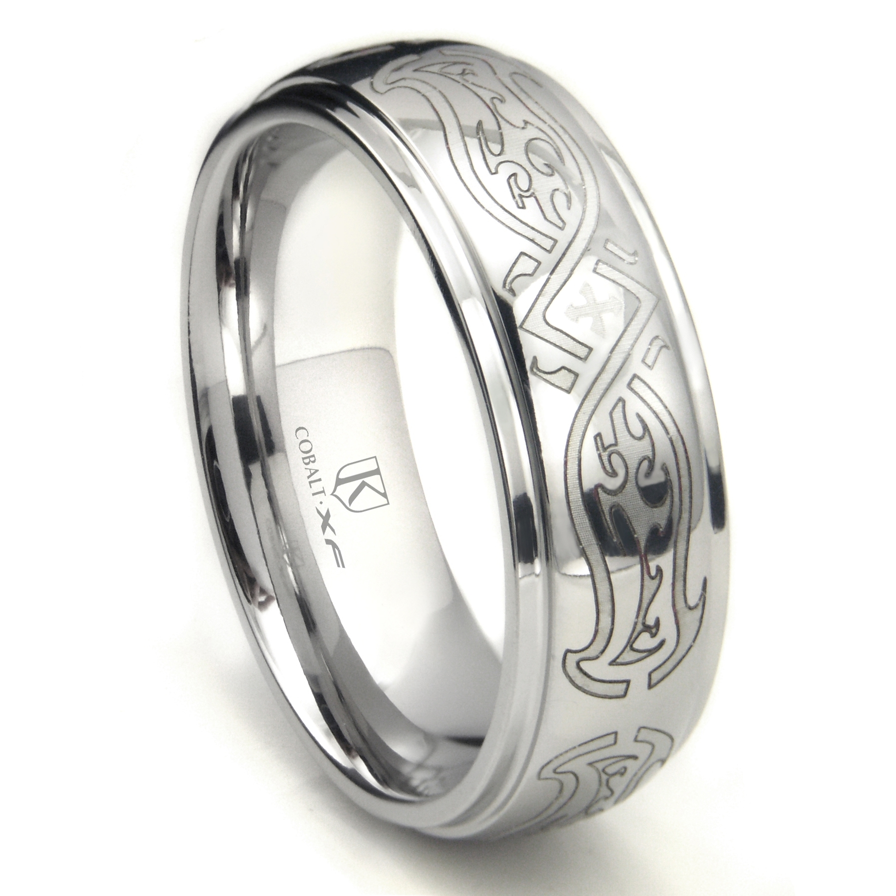 Cobalt Xf Chrome 8mm Celtic Wedding Band Ring For Latest Polished Comfort Fit Cobalt Chrome Wedding Bands (View 8 of 15)