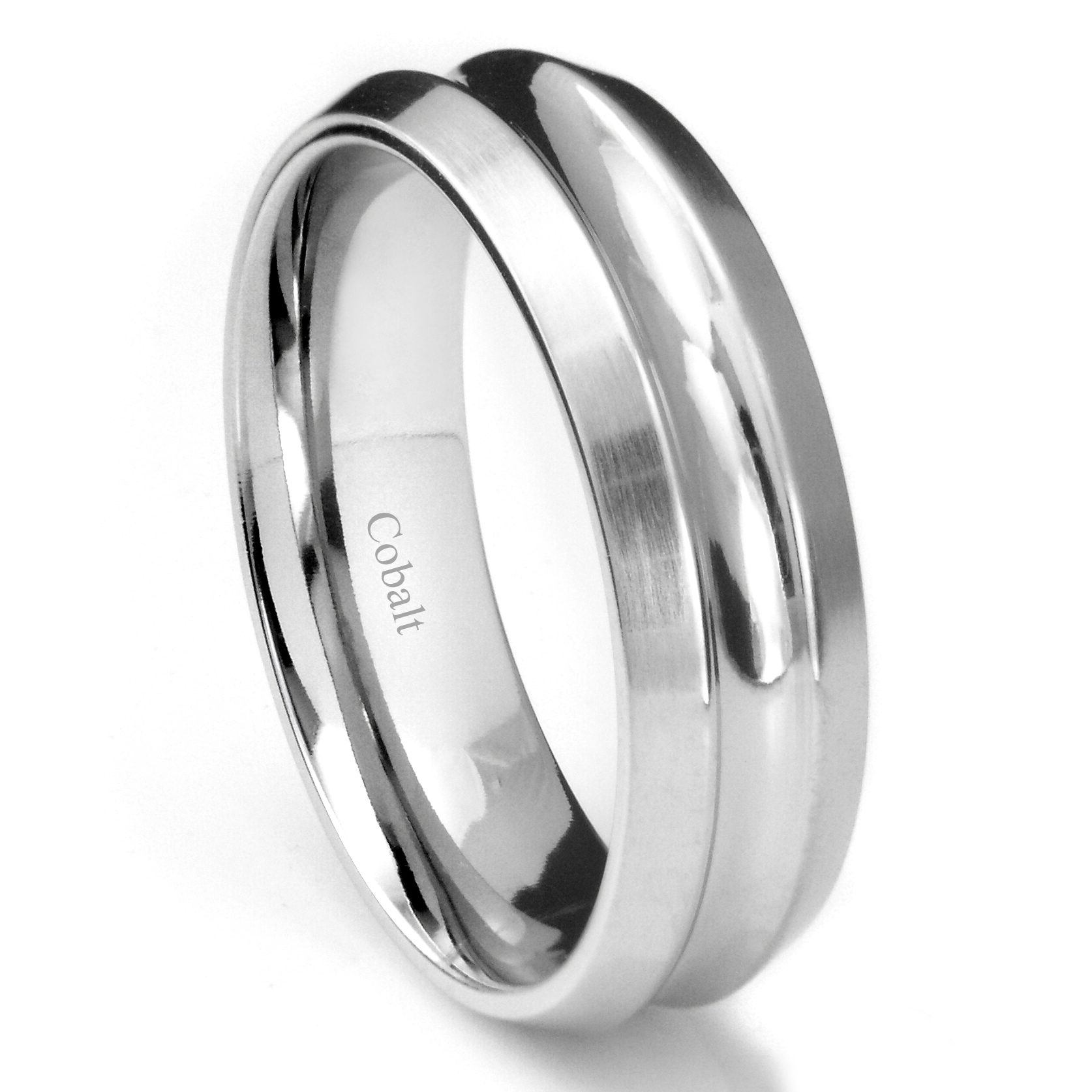 Cobalt Xf Chrome 8mm Concave Wedding Band Ring W/ Beveled Edges Intended For Recent Satin Center Grooved Edge Wedding Band In Cobalt (View 6 of 15)