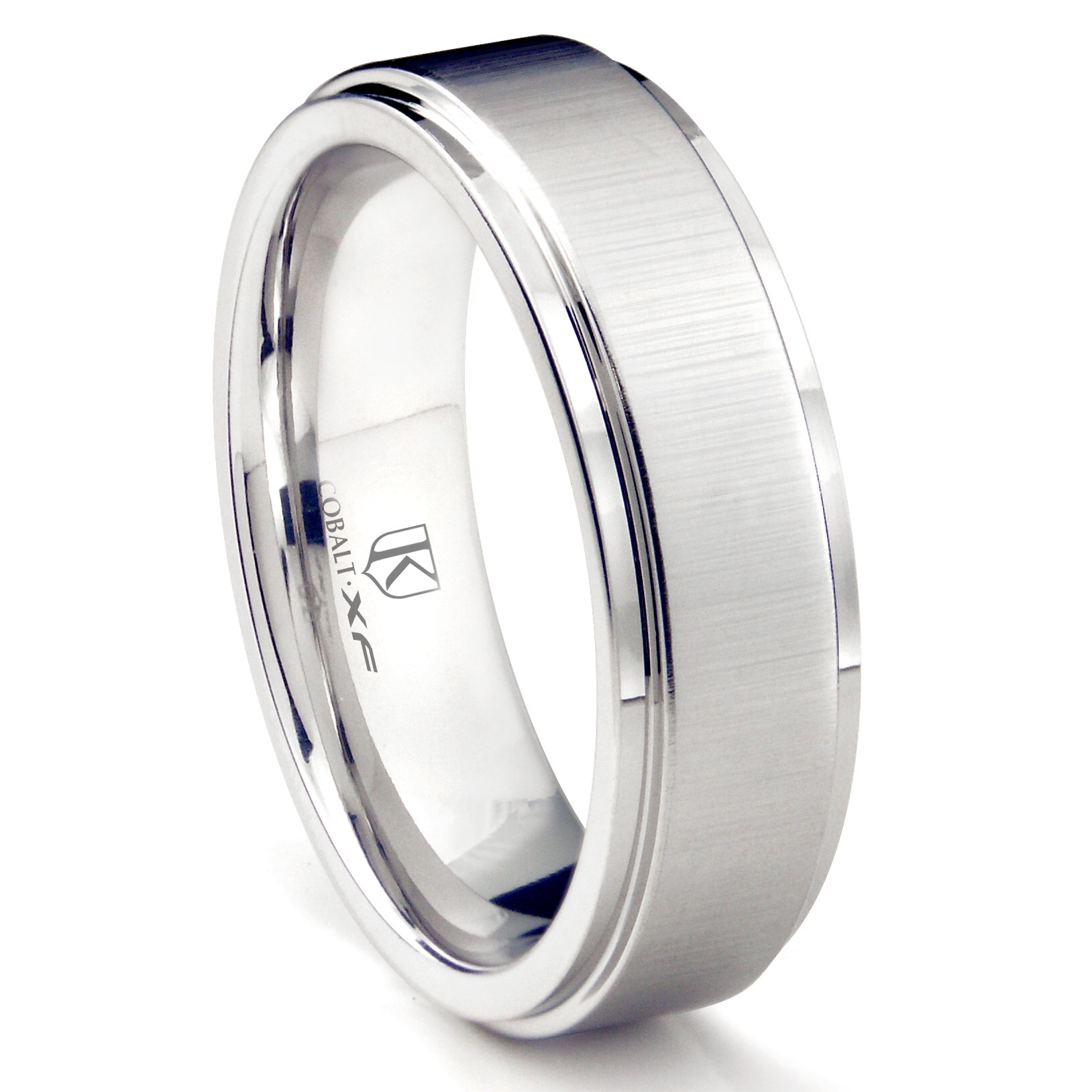 Cobalt Xf Chrome 8mm Satin Finish Wedding Band Ring W/ Raised Center Within Latest Satin Center Grooved Edge Wedding Band In Cobalt (View 14 of 15)