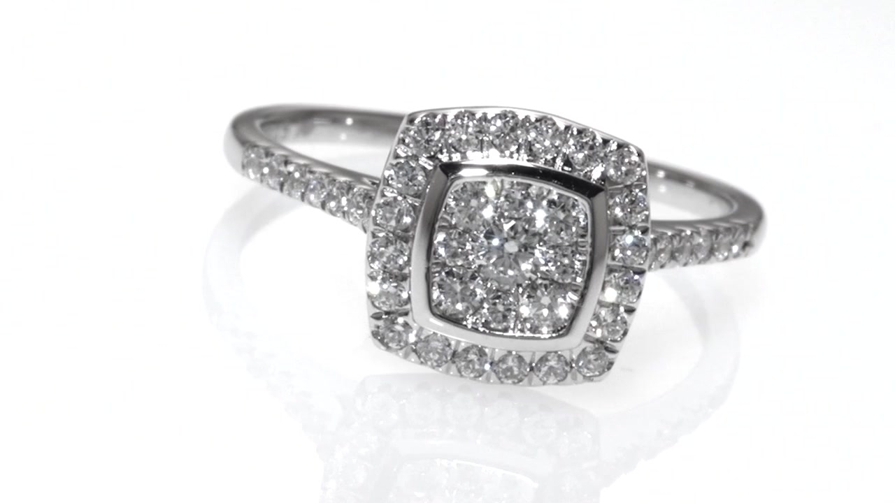 Composite Diamond Cushion Frame Engagement Ring In 10K White Gold With Regard To Best And Newest Marquise And Princess Cut Composite Diamond Six Stone Anniversary Bands (Gallery 9 of 15)