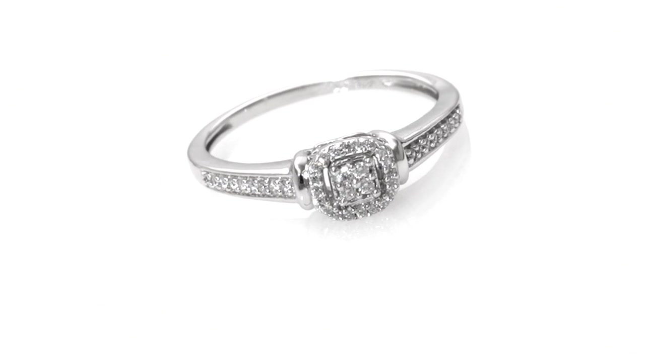 Composite Diamond Cushion Frame Promise Ring In 10K White Gold With Current Composite Diamond Frame Vintage Style Engagement Rings (View 4 of 15)