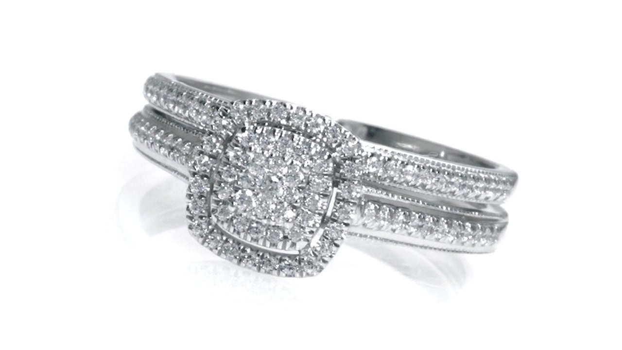 Composite Diamond Vintage Style Bridal Set In 10K White Gold Inside Recent Composite Diamond Frame Vintage Style Engagement Rings (Gallery 12 of 15)