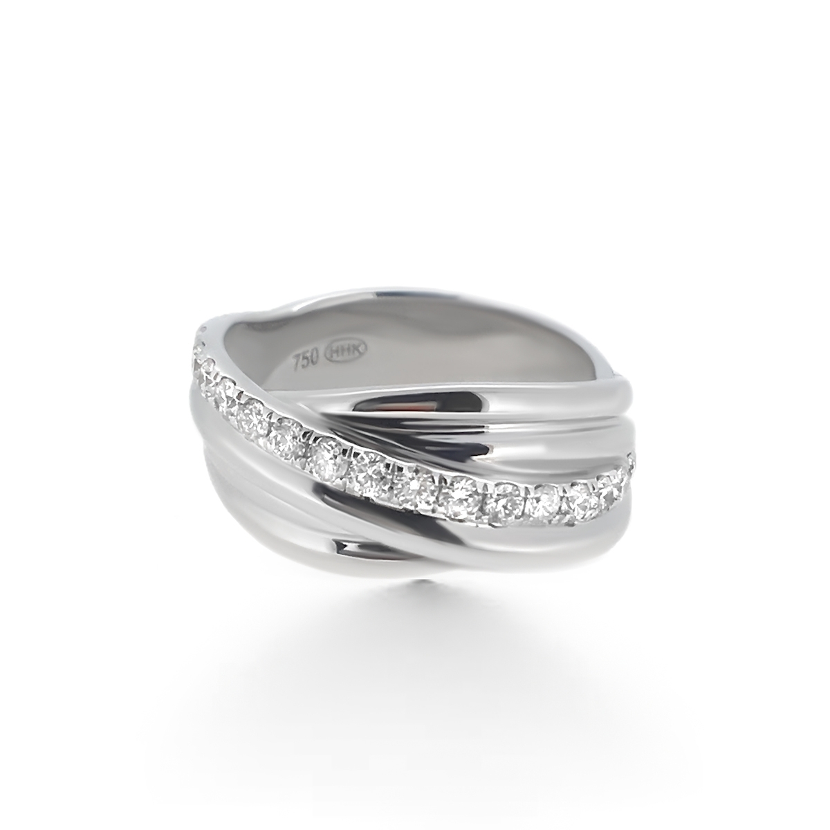Crossover Diamond Wedding Band – Haywards Of Hong Kong Regarding Best And Newest Diamond Layered Crossover Bands In 18K White Gold (View 2 of 15)