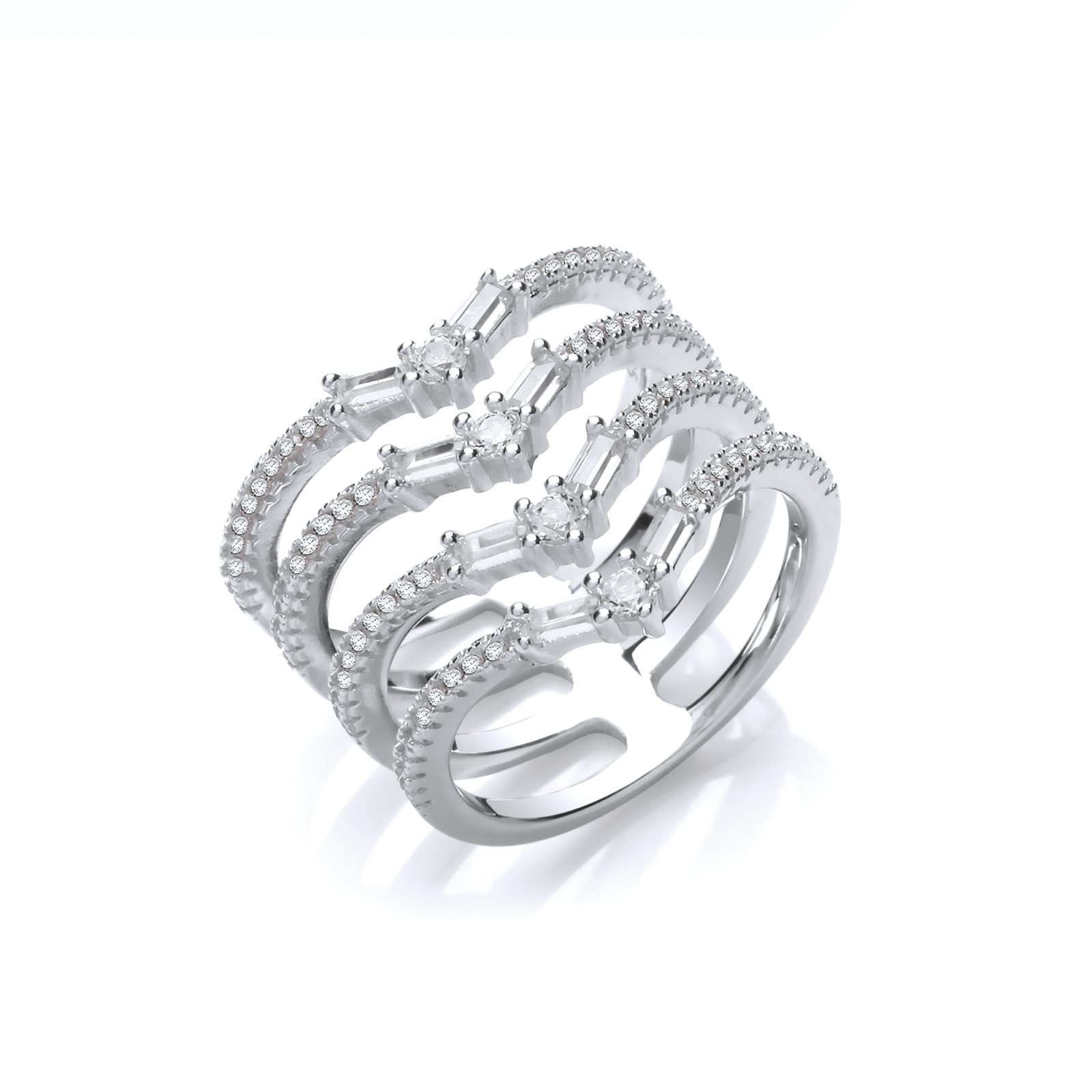 Featured Photo of Diamond Four Row Anniversary Bands In Sterling Silver