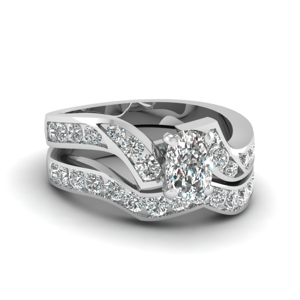 Cushion Cut Diamond Channel Twisted Wedding Ring Set In 18K White In Most Up To Date Diamond Zig Zag Anniversary Rings In 18K White Gold (View 7 of 15)