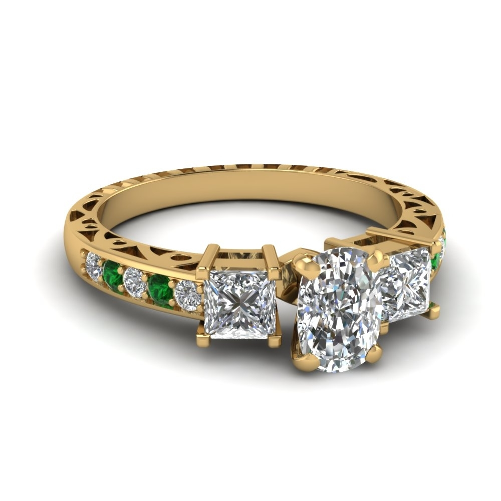 Cushion Cut Vintage 3 Stone Diamond Engagement Ring With Emerald In Throughout 2017 Vintage Style Gold Engagement Rings (View 3 of 15)