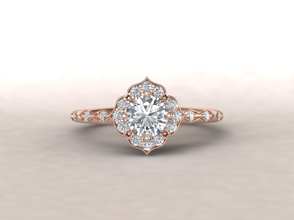 Custom Made Vintage Style Rose Gold And Diamond Ring – Christopher For Most Up To Date Vintage Style Rose Gold Engagement Rings (View 3 of 15)