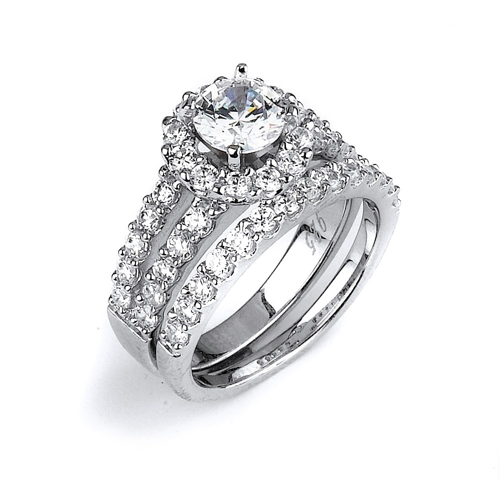 Cz Wedding Ring With A Double Shank Halo Engagement Ring Made In In Recent Diamond Wedding Bands In Sterling Silver With Yellow Rhodium (Gallery 13 of 15)