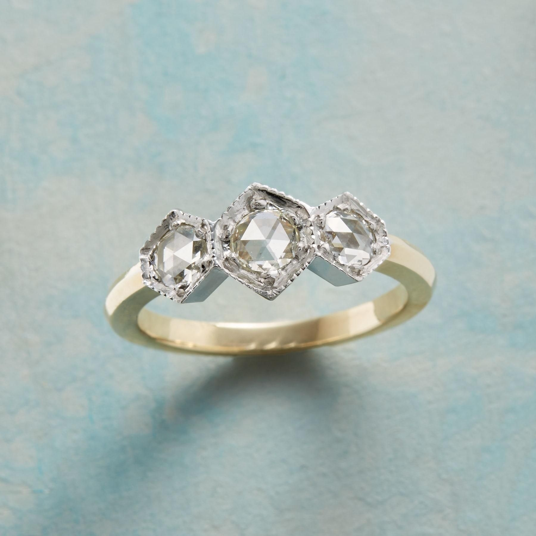 Deco Diamond Ring — Three Hexagonal Diamonds Are Out And Out Regarding Most Up To Date Diamond Hexagonal Frame Vintage Style Wedding Bands (View 13 of 15)