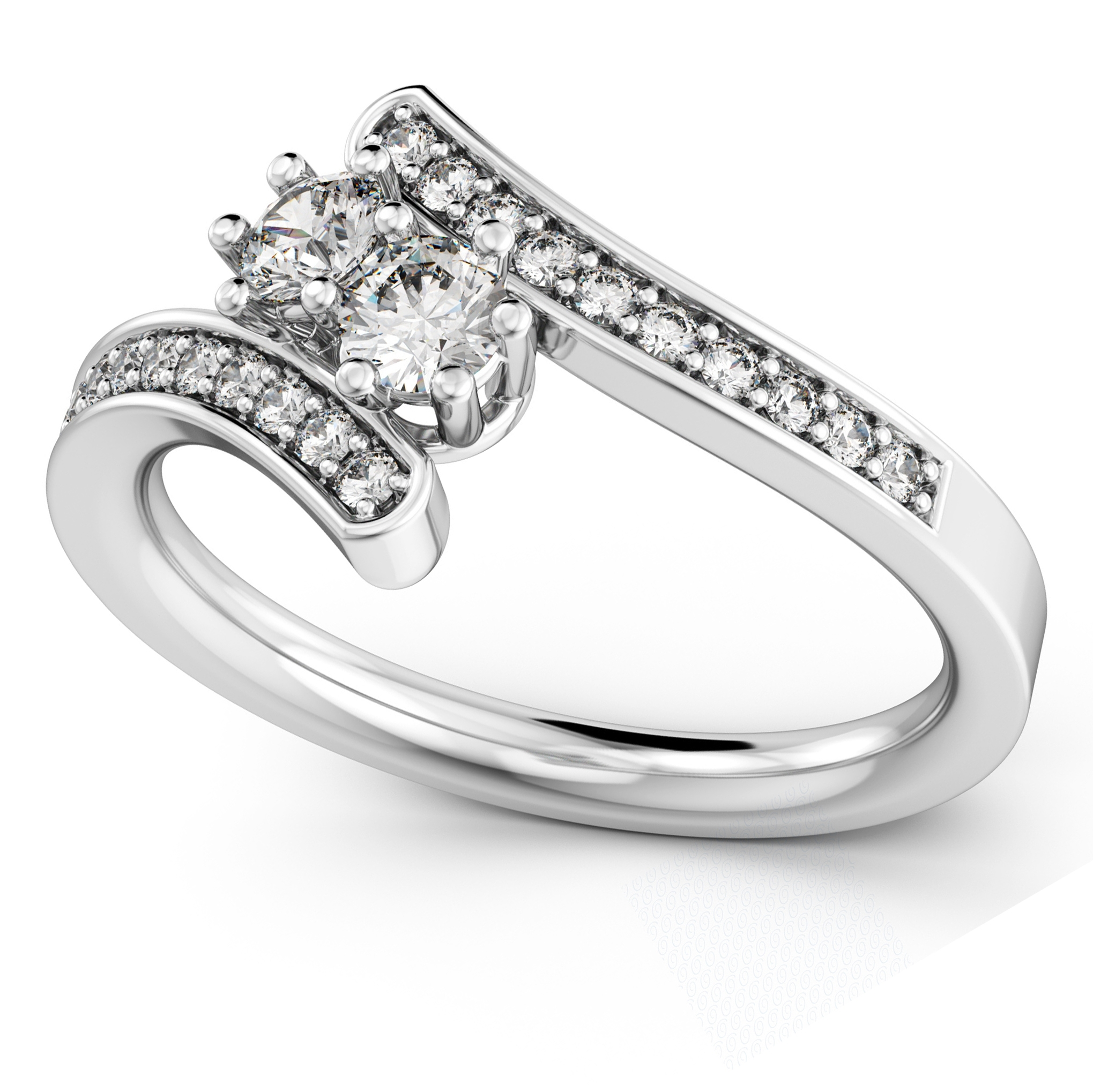 Diamond Accented Two Stone Curved Tension Ring 14K White Gold  (View 4 of 15)