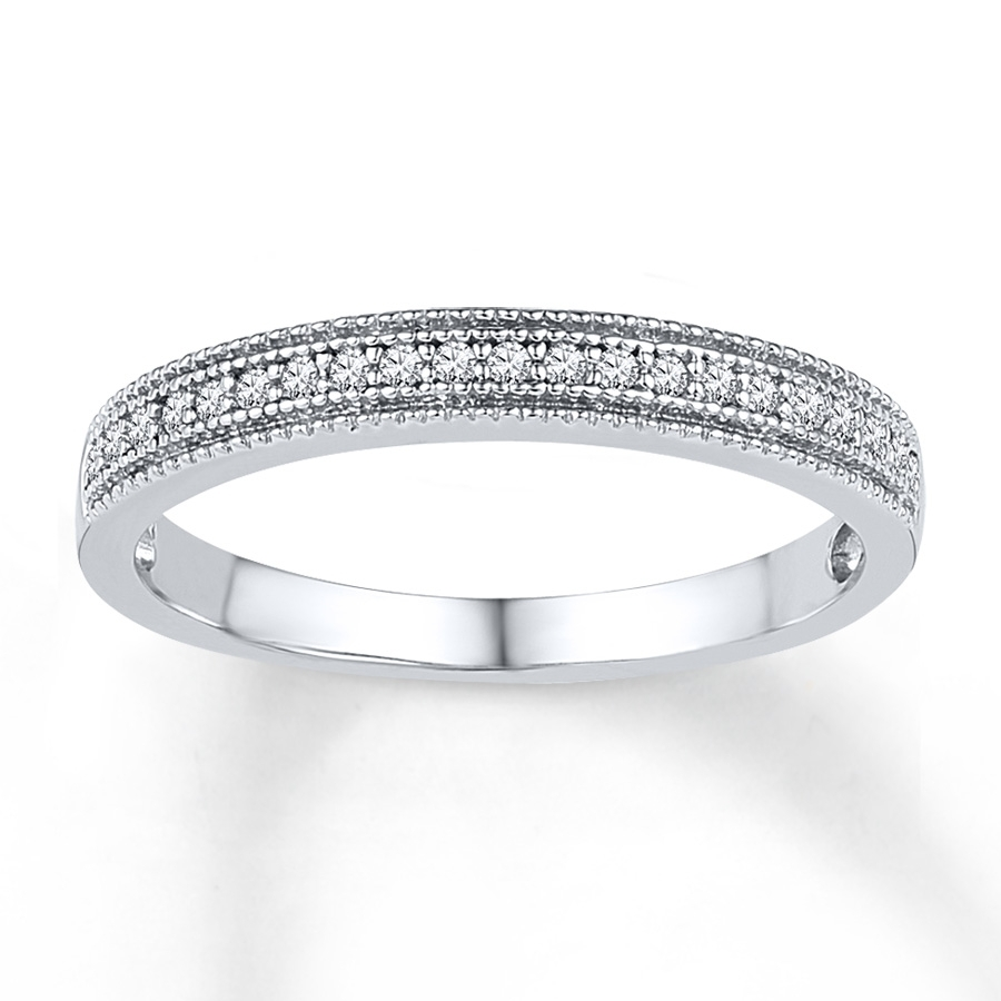 Diamond Anniversary Band 1/10 Ct Tw Round Cut 10K White Gold In 2018 Diamond And Milgrain Anniversary Bands In 10K White Gold (View 7 of 15)
