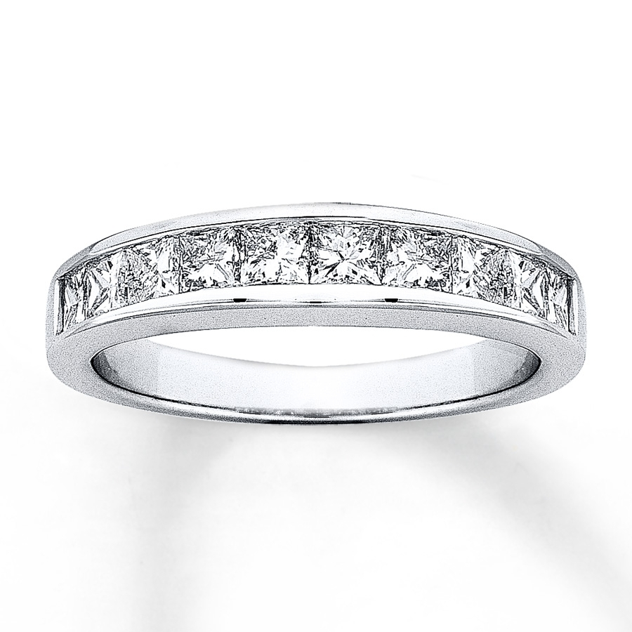 Diamond Anniversary Band 1/2 Ct Tw Princess Cut 14k White Gold Intended For 2018 Diamond Channel Set Anniversary Bands (View 6 of 15)