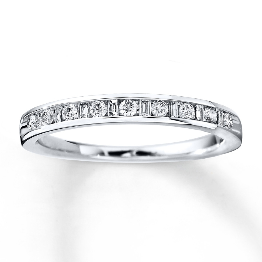 Diamond Anniversary Band 1/4 Cttw Round/baguette 14K White Gold In Best And Newest Round And Baguette Diamond Anniversary Bands In 14K White Gold (Gallery 6 of 15)