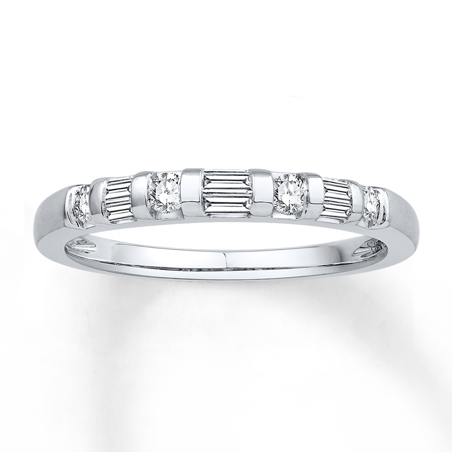 Diamond Anniversary Band 1/4 Cttw Round/baguette 14K White Gold Pertaining To Recent Round And Baguette Diamond Anniversary Bands In 14K White Gold (Gallery 2 of 15)