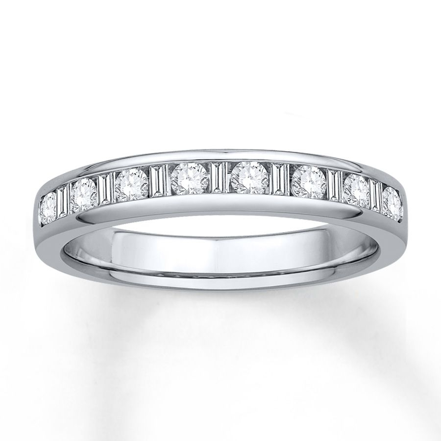 Diamond Anniversary Band 3/8 Cttw Round/baguette 14k White Gold Inside Most Recent Round And Baguette Diamond Anniversary Bands In 14k White Gold (View 15 of 15)