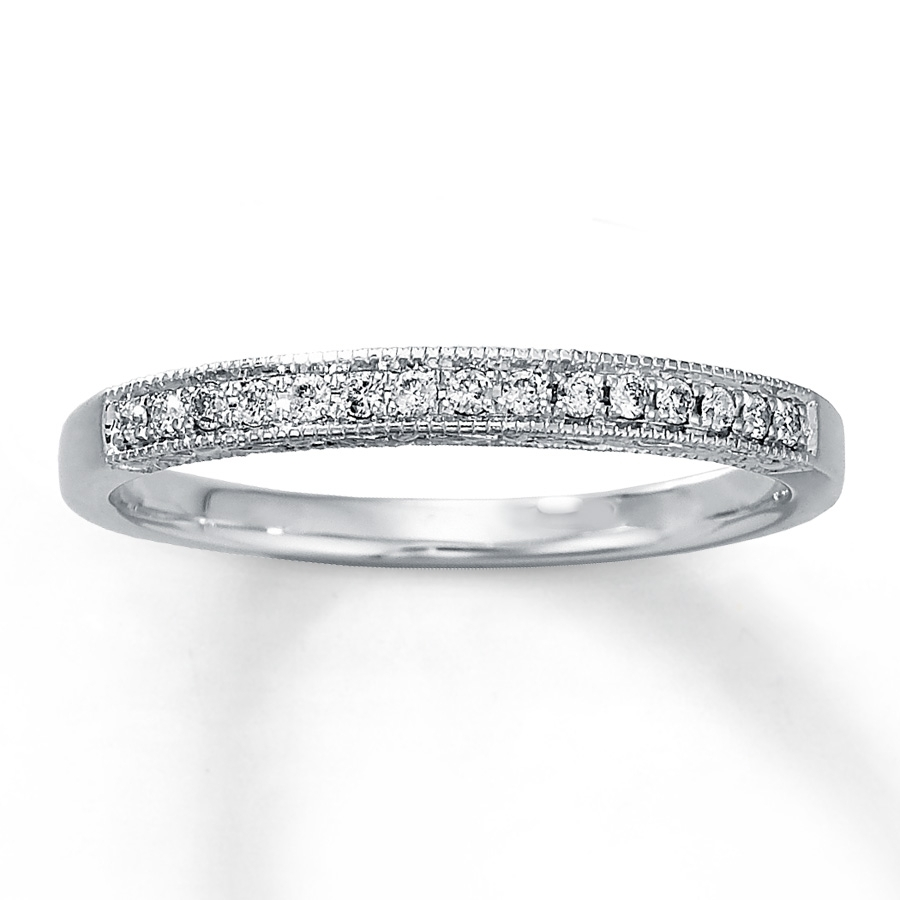 Diamond Anniversary Ring 1/10 Ct Tw Round Cut 10k White Gold Regarding Recent Diamond And Milgrain Anniversary Bands In 10k White Gold (Gallery 1 of 15)