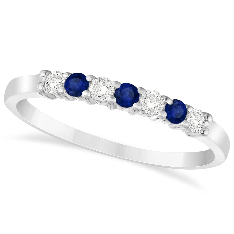 Diamond & Blue Sapphire 7 Stone Wedding Band 14K White Gold 0.26Ct Regarding Most Current Blue Sapphire And Diamond Seven Stone Wedding Bands In 14K Gold (Gallery 4 of 15)