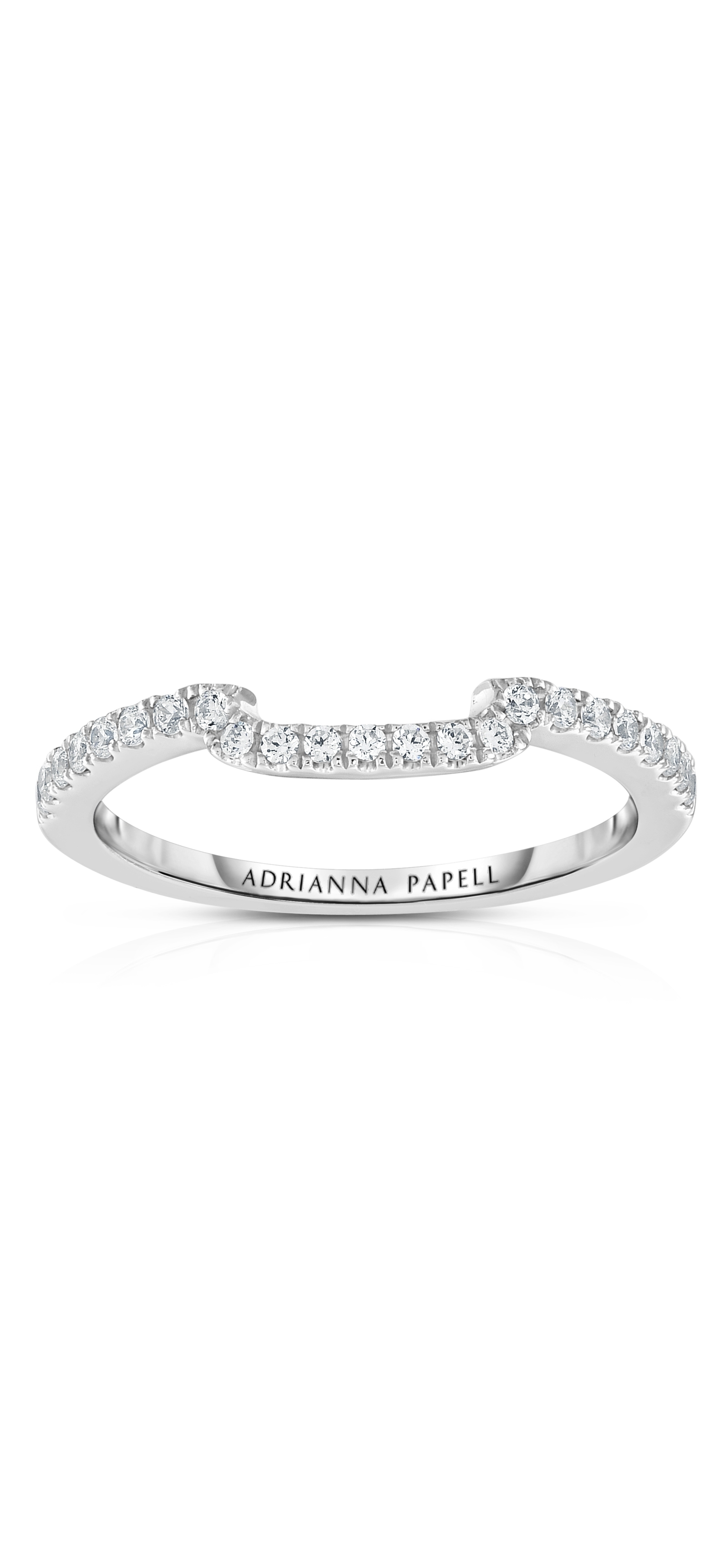 Diamond Contour Wedding Band In 14K White Gold | Adrianna Papell Inside 2018 Diamond Contour Wedding Bands In 14K White Gold (View 4 of 15)