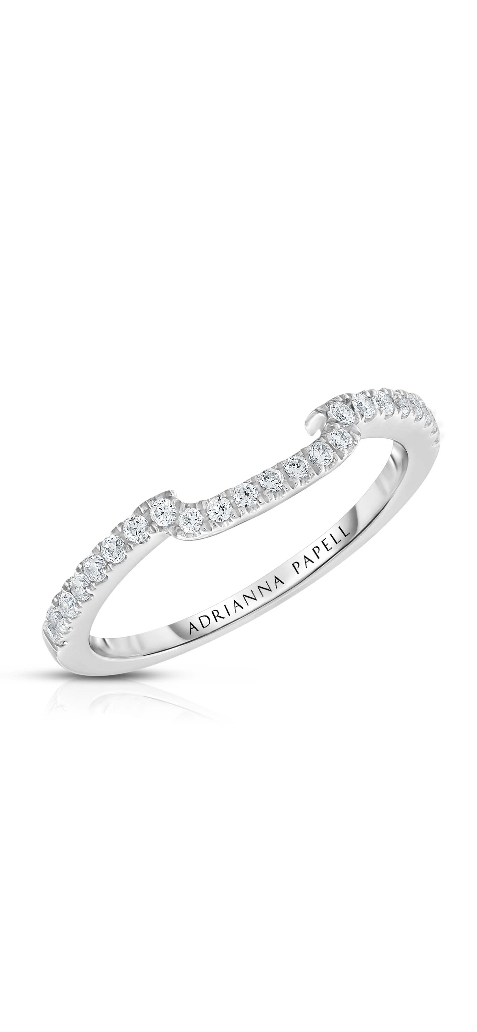 Diamond Contour Wedding Band In 14K White Gold | Adrianna Papell Throughout Most Recent Diamond Contour Wedding Bands In 14K White Gold (View 5 of 15)