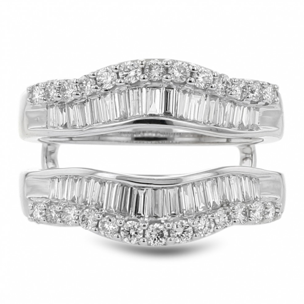 Diamond Cradle Wedding Band, Enhancer Ring, Baguette And Round, 14K Within Most Up To Date Round And Baguette Diamond Solitaire Enhancers In 14K Gold (View 8 of 15)