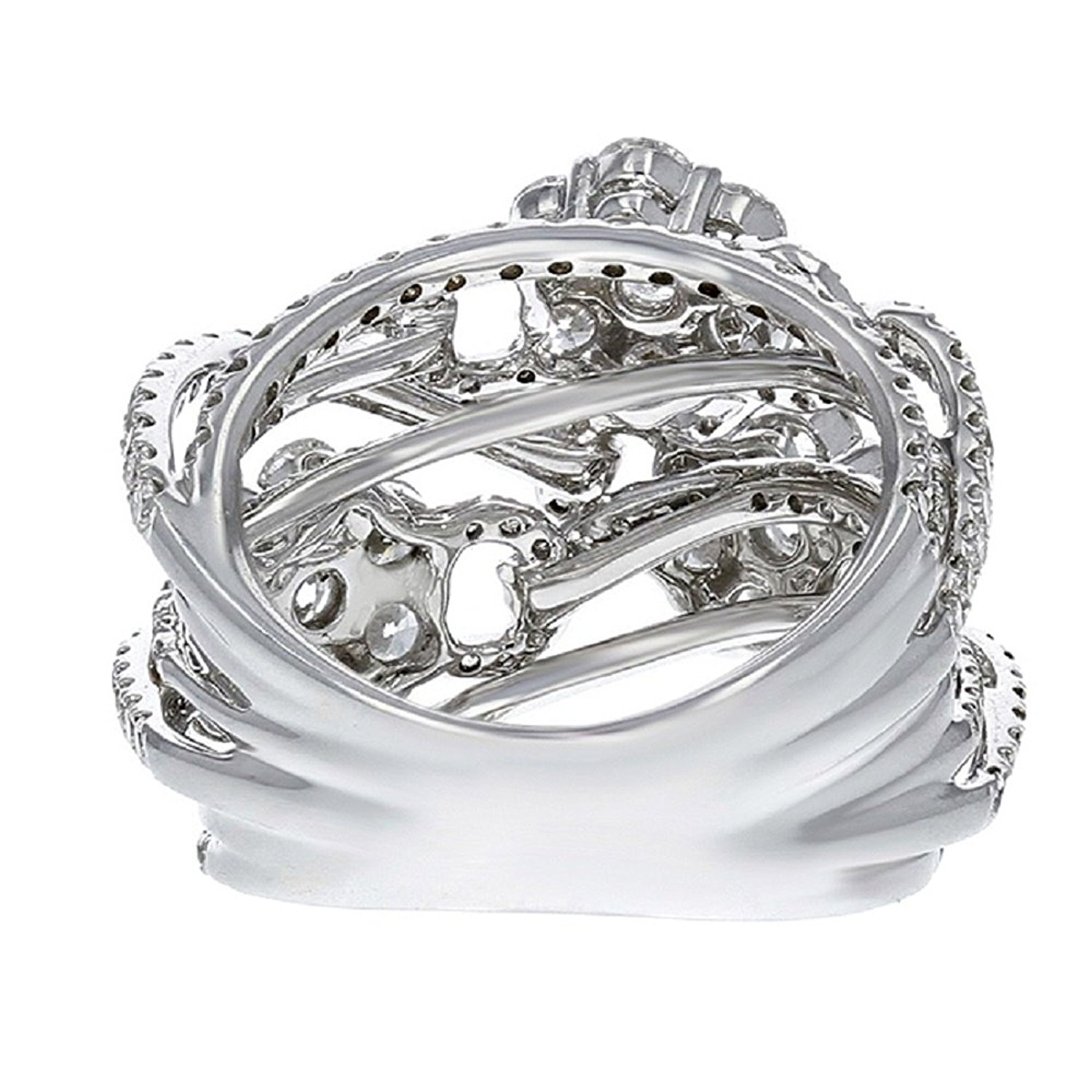 Diamond Crossover Flower Ring In 18K White Gold (3.97 Ct (View 3 of 15)