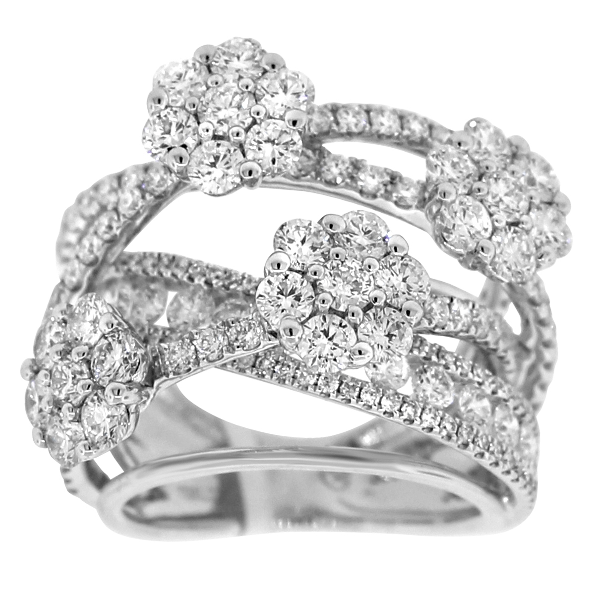 Diamond Crossover Flower Ring In 18K White Gold (4.46 Ct. Tw Throughout Latest Diamond Layered Crossover Bands In 18K White Gold (Gallery 1 of 15)