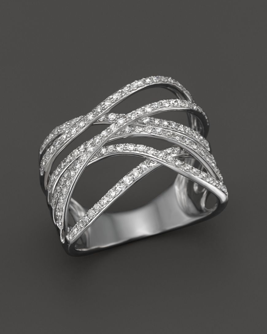 Diamond Crossover Ring In 14K White Gold, .55 Ct. T.w (View 5 of 15)