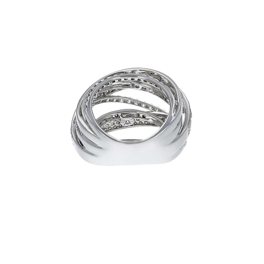 Diamond Cutout Crossover Ring In 18K White Gold (2.13 Ct (View 7 of 15)