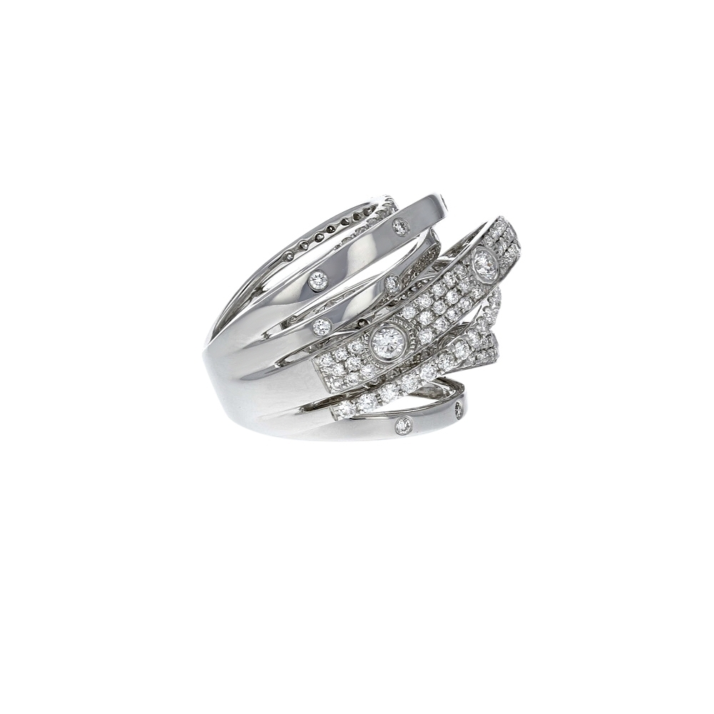 Diamond Cutout Crossover Ring In 18K White Gold (2.13 Ct (View 6 of 15)
