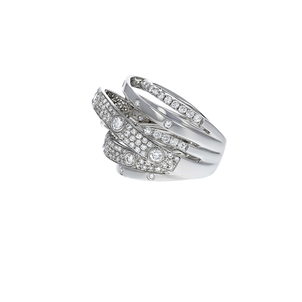 Diamond Cutout Crossover Ring In 18K White Gold (2.13 Ct (View 8 of 15)