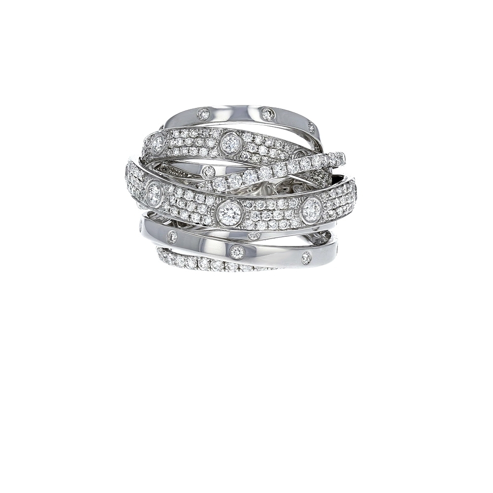 Diamond Cutout Crossover Ring In 18K White Gold (2.13 Ct (View 9 of 15)