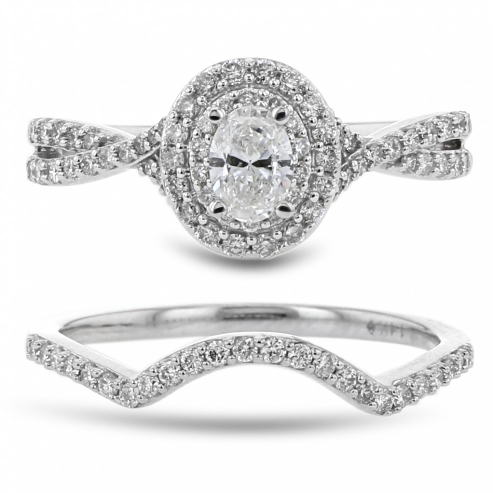 Diamond Double Halo Engagement Ring And Curved Wedding Band Set Inside 2018 Oval Diamond Double Frame Twist Vintage Style Bridal Rings In 14K White Gold (View 6 of 15)