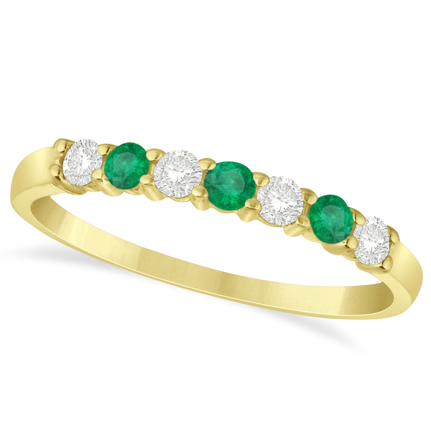 Diamond & Emerald 7 Stone Wedding Band 14K Yellow Gold  (View 8 of 15)