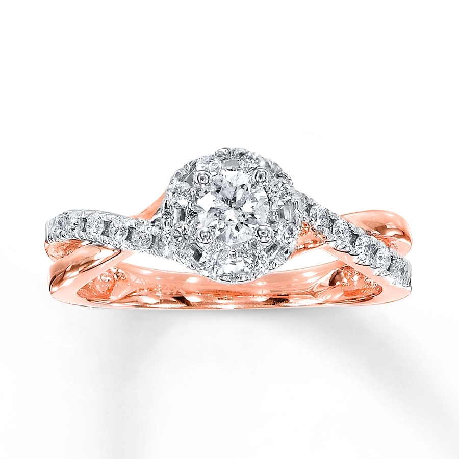Diamond Engagement Ring 1/2 Carat Tw 10K Rose Gold – 991024706 – Kay In 2018 Diamond Twist Anniversary Bands In 10K Rose Gold (View 3 of 15)