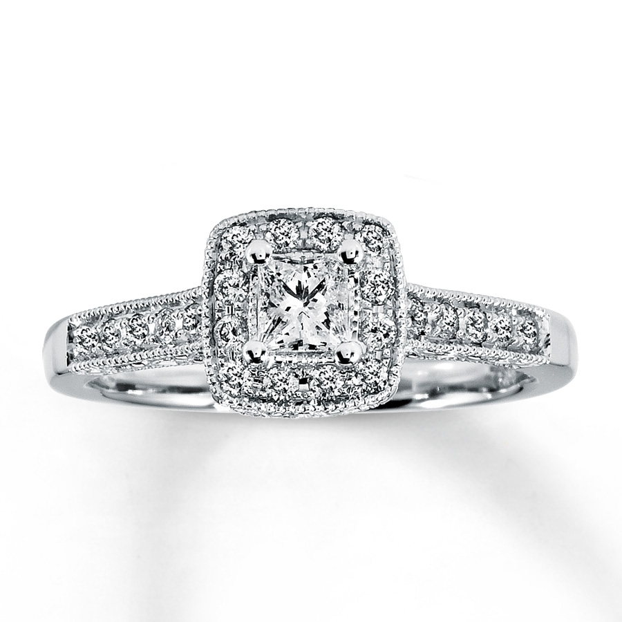 Diamond Engagement Ring 1/2 Ct Tw Princess Cut 14K White Gold Intended For 2018 Princess Cut Diamond Frame Vintage Style Twist Bridal Rings In 14K White Gold (Gallery 3 of 15)