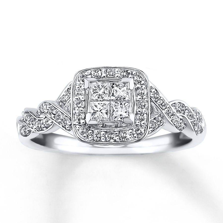 Diamond Engagement Ring 1/2 Ct Tw Princess Cut 14k White Gold With Best And Newest Princess Cut Diamond Frame Vintage Style Twist Bridal Rings In 14k White Gold (Gallery 11 of 15)