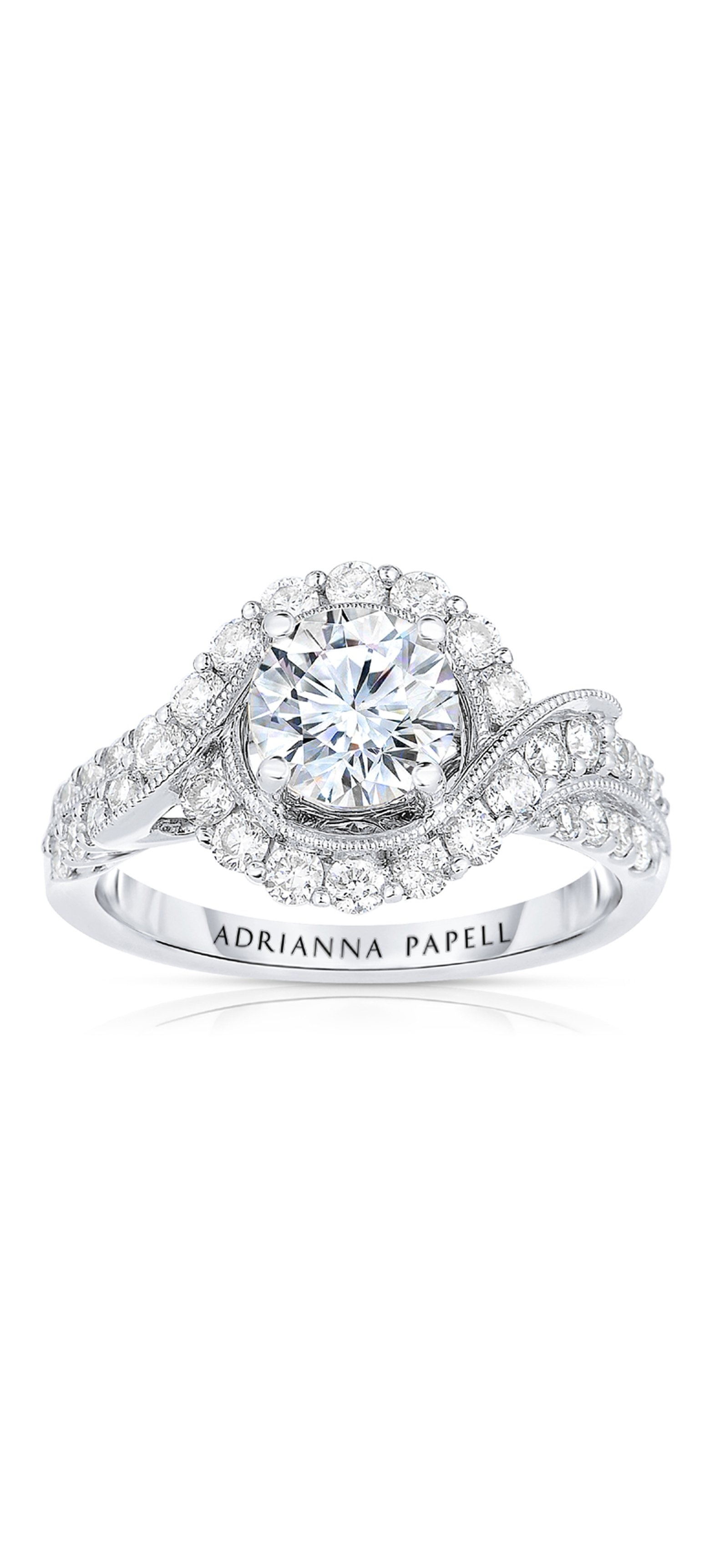 Diamond Engagement Ring Collection In Partnership With Zales Outlet For Latest Oval Diamond Double Frame Twist Vintage Style Bridal Rings In 14k White Gold (View 13 of 15)