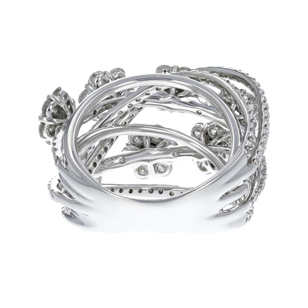Diamond Flower Crossover Ring In 18K White Gold (3.83 Ct (View 10 of 15)