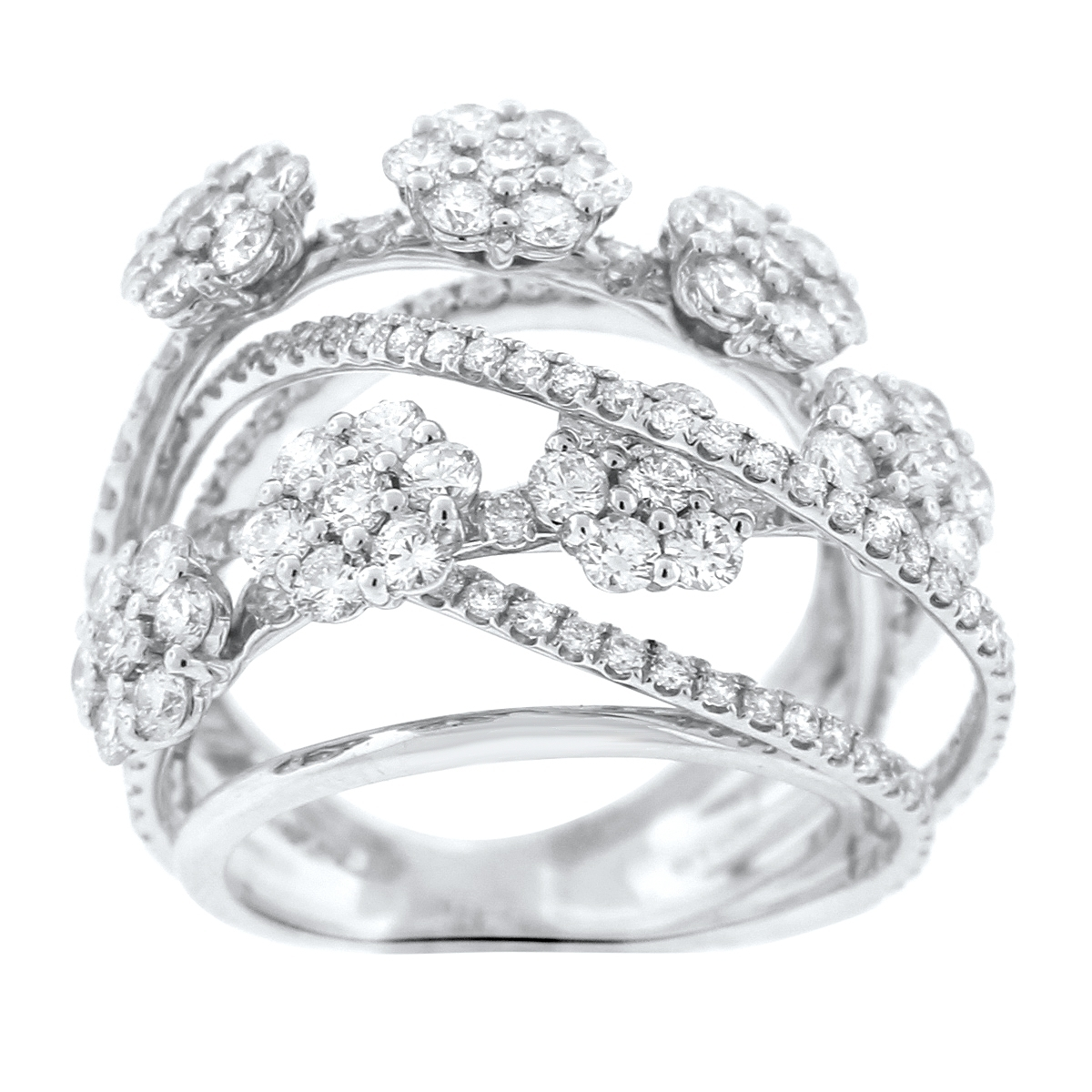Diamond Flower Crossover Ring In 18K White Gold (3.83 Ct (View 11 of 15)
